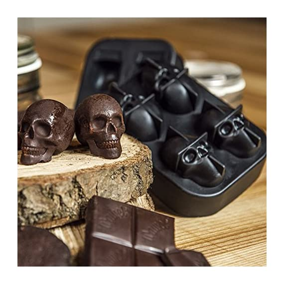 "3D Skull Ice Mold-2Pack,Easy Release Silicone Mold,8 Cute and Funny Ice Skull for Whiskey,Cocktails and Juice Beverages,Black 6 2 pack ice mold :eight giant skull shape ice cubes (2"" X 2.5"") make your drink look awesome. Great for parties, bars, restaurants, summer, holiday events and holiday gifts. Reliable material: food grade silicone. Non-toxic.100% safe to use. Non-stick materials. Easy to make a full skull ice.This durable and flexible silicone ice tray won't crack or break like plastic ice tray; easy to fill, remove and clean. Multiple use: it can also be used as mousse mold, sugar mold, chocolate, ice cream, soap making tools. And it is fantastic to be used in various occasions like parties, beaches, wine party and holiday events etc."