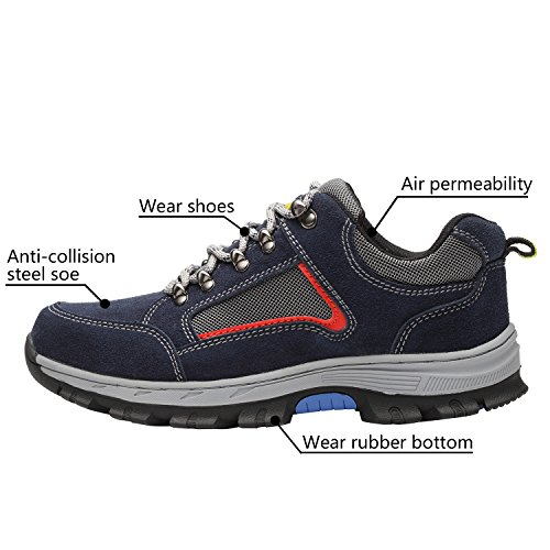 Optimal Blue Work Shoes Blue Safety Toe Shoes Shoes Steel Men's PrPzqw