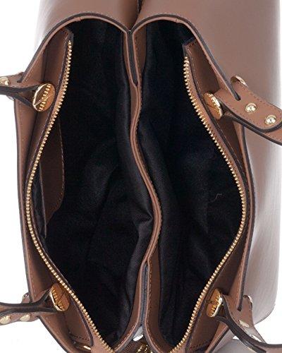 Bolso en Laura con detalle TOTE estilo piel tornillo cabeza Taupe de forma de decorativo de Moretti n054Wqx5F