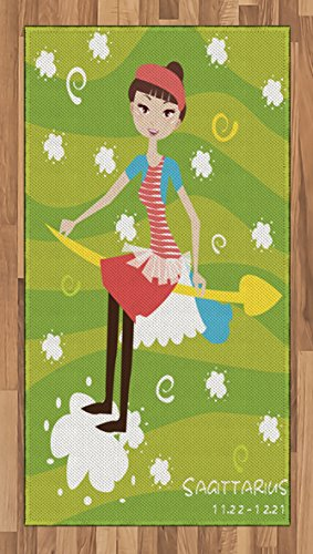 Zodiac Sagittarius Area Rug by Ambesonne, Cartoon Girl Sitting on an Arrow Motif Horoscope on a Stripes Background, Flat Woven Accent Rug for Living Room Bedroom Dining Room, 2.6 x 5 FT, Multicolor