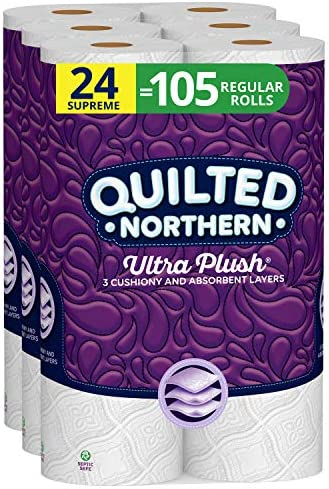 Quilted Northern Ultra Plush Toilet Paper, 24 Supreme Rolls, 24 = 105 Regular Rolls, 3 Ply Bath Tissue,8 Count (Pack of three)