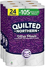 Quilted Northern Ultra Plush Toilet Paper, 24 Supreme Rolls, 24 = 105 Regular Rolls, 3 Ply Bath Tissue,8 Count