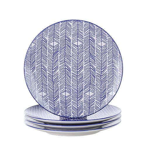 Vancasso 4-Piece Blue Glazed Patterned Porcelain China Ceramic 10.5