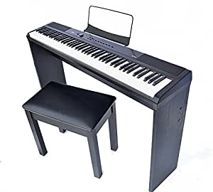 artesia pa88 w 88 key portable digital piano black bundle with furniture stand and matching. Black Bedroom Furniture Sets. Home Design Ideas