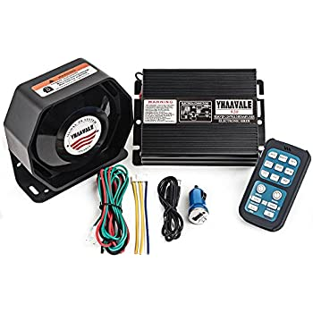 YHAAVALE 920 Car Amplifier Police Siren & Metal Ultra Slime Octagon Flat Speaker,DC12V 100W Multi-Tones Wireless Remote Control with Mic Loudspeaker ...
