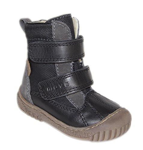 Move by Melton Kinder Unisex TEX-Boot mit Wollfütterung - Zapatos primeros pasos de cuero para niño negro - Schwarz (Black190)