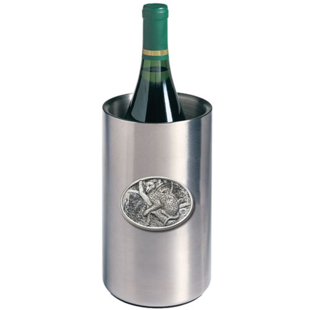 ANIMAL LEOPARD WINE CHILLER, This is a wine chiller made of double-wall insulated stainless steel with a fine pewter logo medallion bonded to the front.
