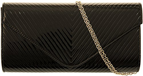 H Fashion Evening Ladies Navy Large Patent Glossy Clutch Black Handbag amp;g w4raXwqc6