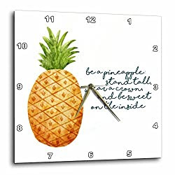 3dRose Noonday Design - Fruit - Watercolor pineapple with inspirational be a pineapple verse - 10x10 Wall Clock (dpp_281738_1)
