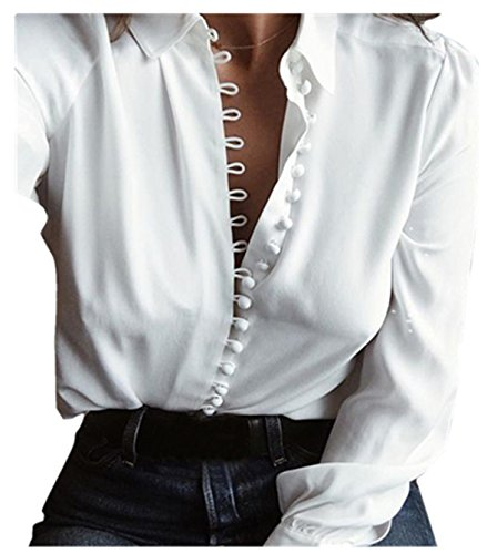Women Casual Solid Long Sleeves Blouse Lapel Shirt for Work (US4=Label SizeM, White) (US4=Label SizeM, White)