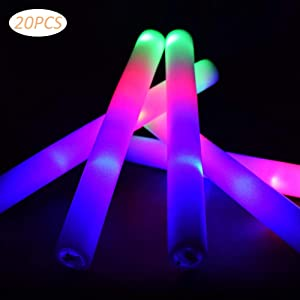 Taotuo 20 PCS LED Light Up Foam Sticks Three Modes Color Changing Glow Party Supplies for Halloween, Raves, Concert
