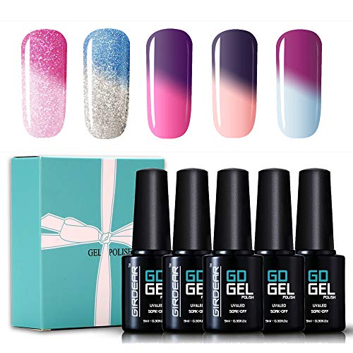 Girdear Gel Nail Polish Set Soak Off UV LED Temperature Color Changing Chameleon Nail Polish Kit 5 Colors 9ml