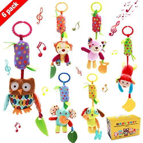 Baby Hanging Rattle Toys, 6 Pack Soft Hanging Crinkle Squeaky Sensory Educational Toy for 0 3 6 to 12 Months, Infant Animal Wind Chime with Teethers for Toddlers/Baby Girls/Baby Boys