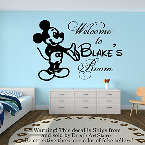 Wall decal personalized custom name decals welcom to mickey mouse vinyl sticker home decor nursery boy baby room kids stickers childrens decor art mural