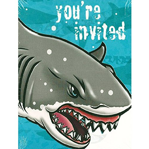 Summer Shark Invitations and Thank You Notes w/ Envelopes (8ct ea.) (Shark Invitations)