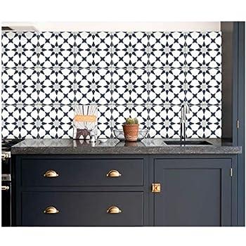 Amazon.com: Dark Blue Pacific Tile Stickers for Kitchen