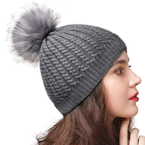 FURTALK Winter Beanie Hat for Women Warm Thick Lining Knit Bobble Skull Cap Big Fur Pom Pom Hats for Women