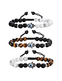Jstyle 3Pcs Bead Bracelets for Men Women Evil Eye Bracelet Set 8mm Matte Lava Rock Stone Adjustable Bracelet