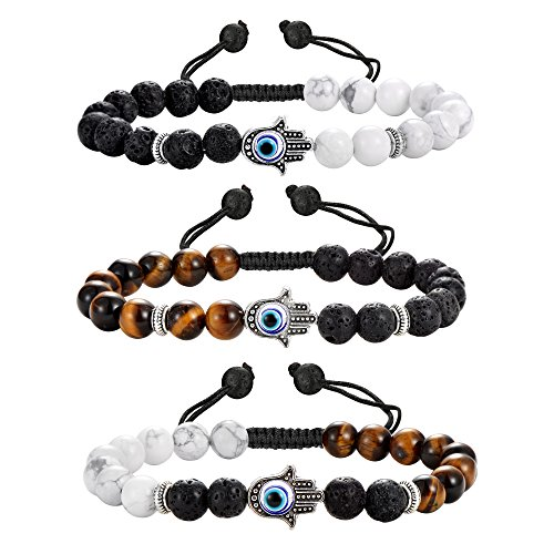 (Jstyle 3Pcs Bead Bracelets for Men Women Evil Eye Bracelet Set 8mm Matte Lava Rock Stone Adjustable Bracelet Braided)