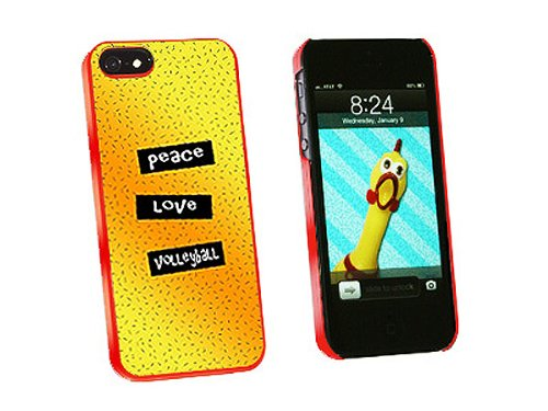 Graphics and More Peace Love Volleyball Snap-On Hard Protective Case for iPhone 5/5s - Non-Retail Packaging - Red - Iphone5s Volleyball Cases