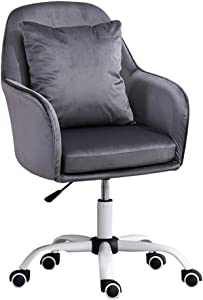 Adjustable Office Chair Velvet Upholstered Weight Capacity 550 Lbs 360° Swivel for Home Office Study Room