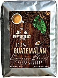 Two Volcanoes Ground Coffee - Dark Roast Espresso Blend - 2 lb bag - Guatemala Delicious Gourmet Coffee. Great for French Press. Get The Kick, Enjoy The Smoothness!