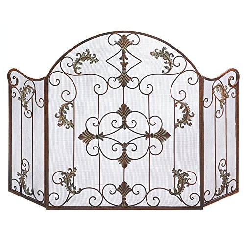 J&M Firescreen Protector 3-Door Wrought Iron Folding Panel in Tarnished Bronze & Copper Finish with Florentine Scroll Motif Décor