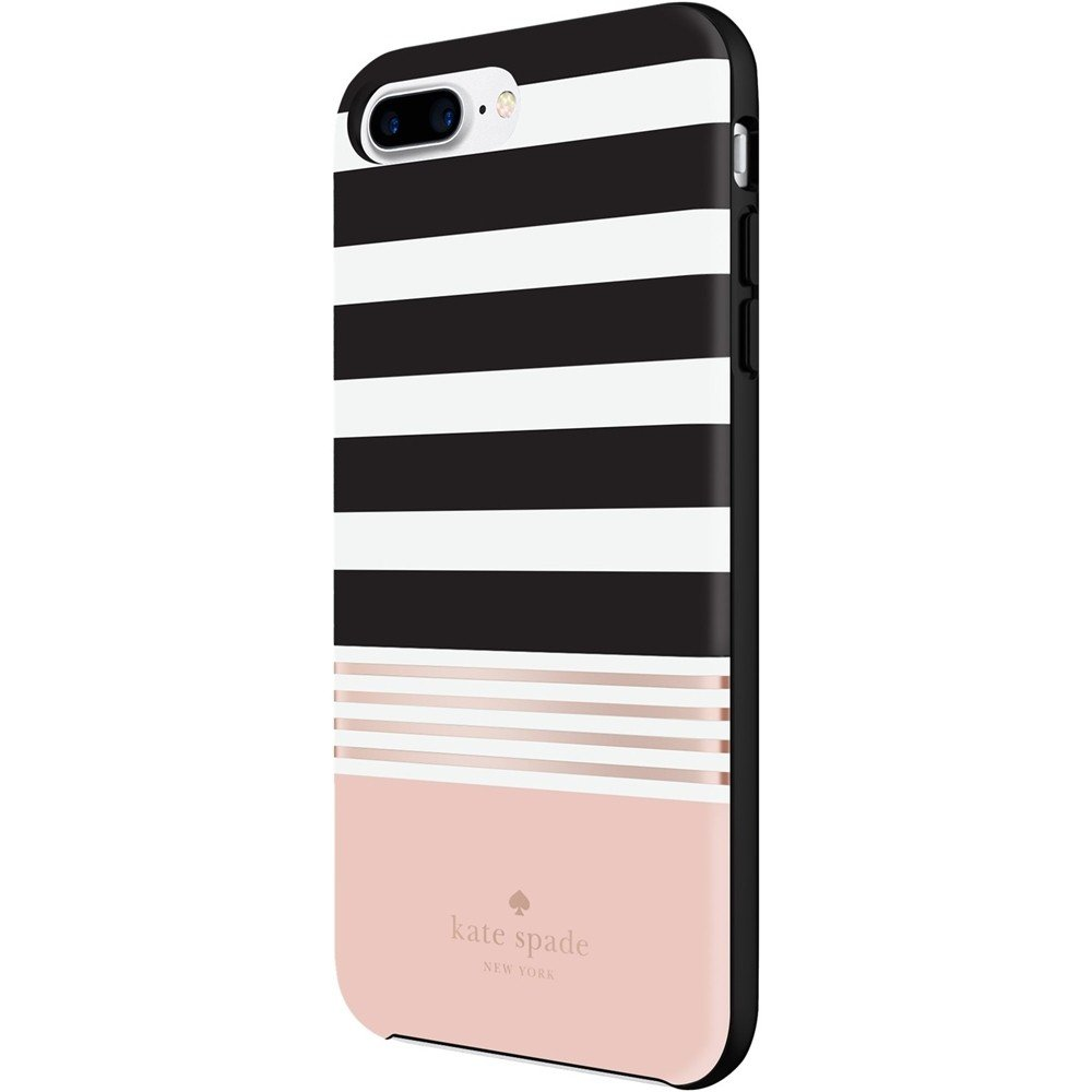 Kate Spade New York Stripe Black White Rose Gold Foil Hardshell Case for iPhone 7 Plus with 5.5'' Screen