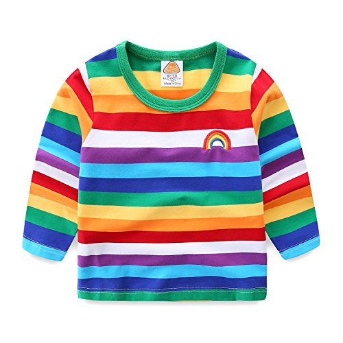 UWESPRING Cute Little Boys Rainbow Stripe Shirt Long Sleeve Tops Size 5]()