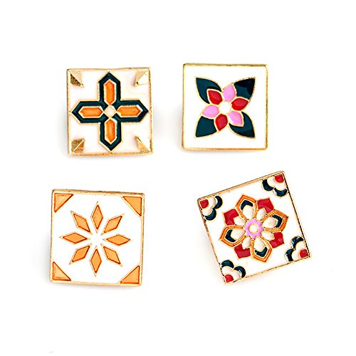 - Fashion Cartoon Enamel Brooch Pins Set for Unisex Child Women's Clothing Decorate (Vintage Flowers Set)