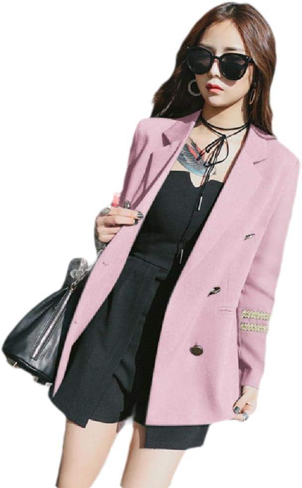 Zimaes Women Casual Double Button Long Sleeve Notch Lapel Office Blazer Jacket