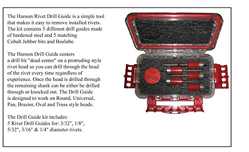 Rivet Removal Tool - HANSON RIVET Drill Guide, Makes Drilling Out Rivets Easy. Comes with Guides for 3/32