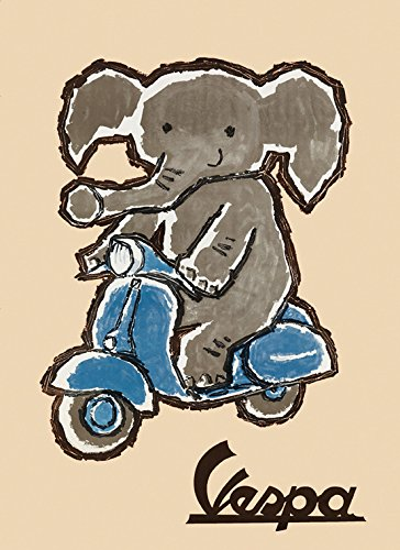 Elephant Riding Vespa Motorcycle Scooters Italy Italia Vintage Poster Repro 12