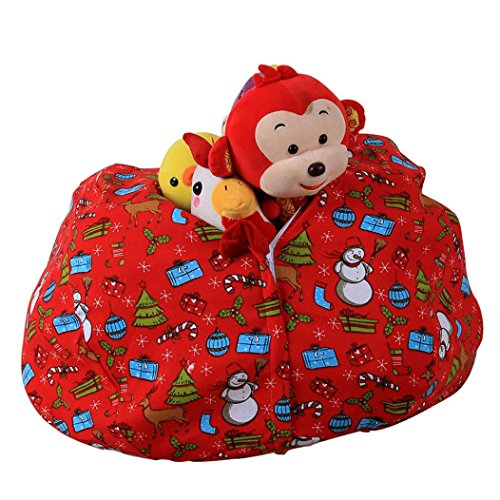 Price comparison product image Amiley Cool Kids Stuffed Animal Plush Toy Storage Bean Bag Soft Pouch Stripe Fabric Chair Hot Sale (F)