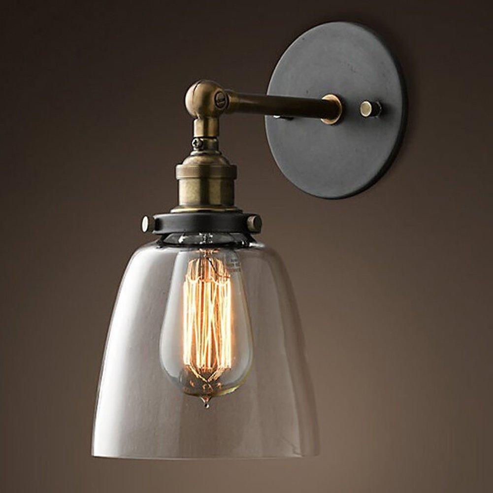 Seitor Lampe industrielle Retro lampe de mur de verre en forme de cloche lampe murale en verre Appliques pour Couloir/Chambre/Cuisine/Bureau/Salon