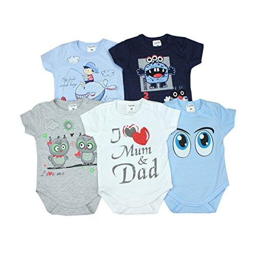 Baby Kurzarm-Body mit Aufdruck Spruch 100% Baumwolle Jungen Babybody Mädchen im 5er Pack, Farbe: Junge, Größe: 68