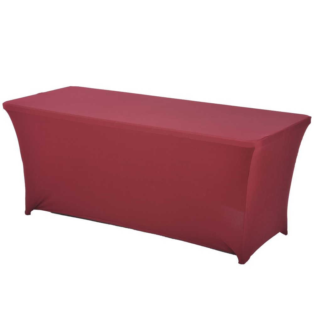 Haorui Rectangular Spandex Table Cover (6 ft. Burgundy)