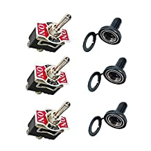 Momentary Toggle Switch Rocker Heavy Duty with Boot for 15A 125V SPDT 3 Position (ON)-OFF-(ON) Spring Loaded Switch by Wadoy