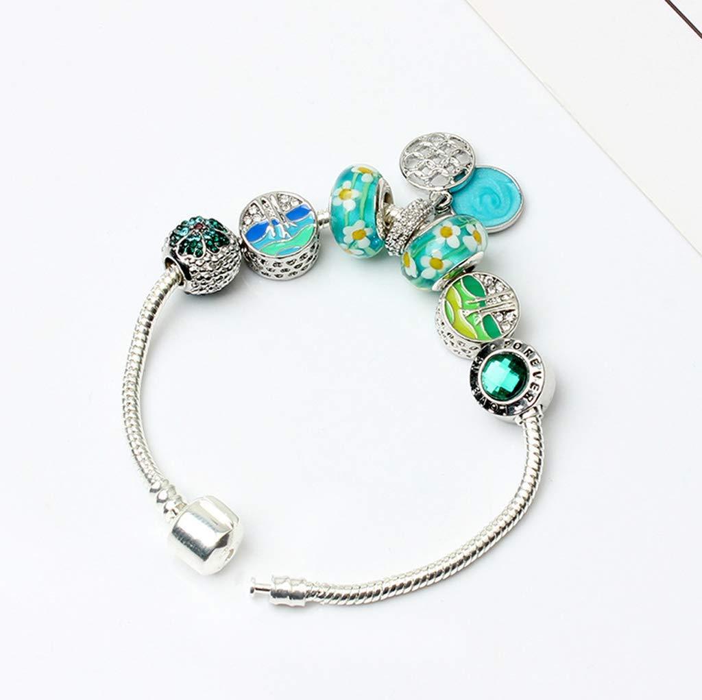 Zicue Stylish Charming Bracelet Exquisite Ornaments Women's DIY Handmade Silver Snake Chain Glass Beads Bracelet Crystal Flower Beads Suitable For Women's Bracelet 20Cm (bluee)