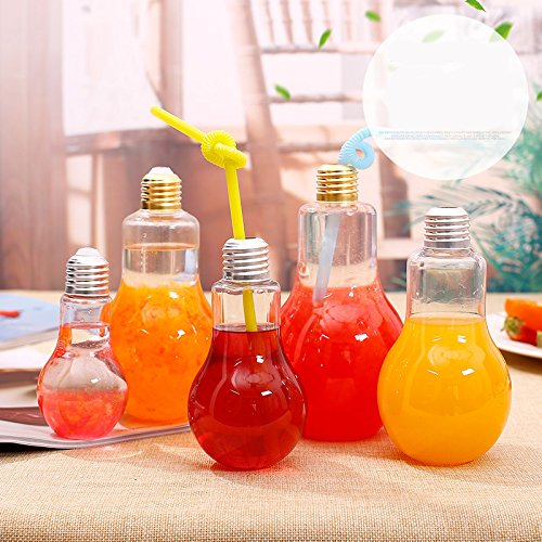 Zehui Creative Clear Plastic Light Bulb Juice Water Beverage Bottle Drink Cup (Without Drinking Straw) 500 ml]()
