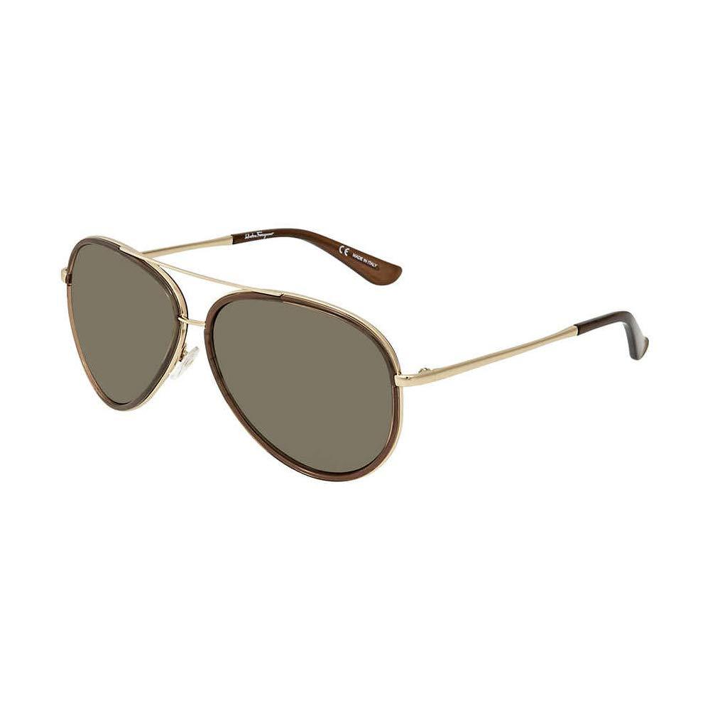 3dc97dc7a6a0e Amazon.com  Salvatore Ferragamo Mens Designer Non-Polarized Aviator  Sunglasses Brown  Shoes