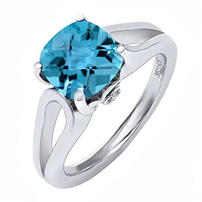 Amazon.com: 3,48 ct cojín Checkerboard Cielo Azul Topacio ...