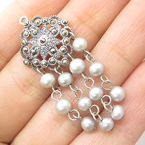 (925 Sterling Silver Dangling Grey Pearl Accents Marcasite Gem Floral Pendant Jewelry Making Supply by Wholesale Charms )
