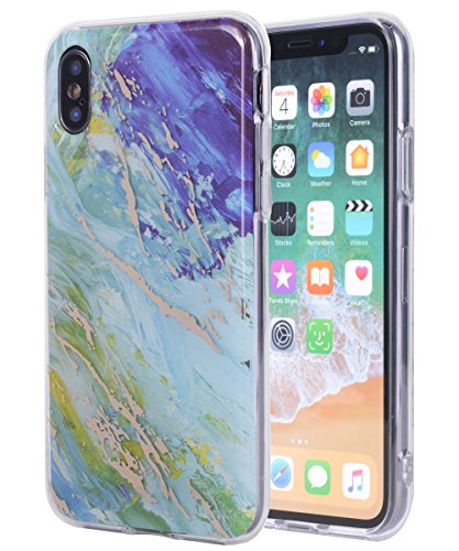 iPhone Xs Max Case,iPhone Xs Plus Case,Spevert Marble Pattern Hybrid Hard Back Soft TPU Raised Edge Slim Cover Protective Case Compatible iPhone Xs Max/XS Plus 6.5 inches 2018 - Green