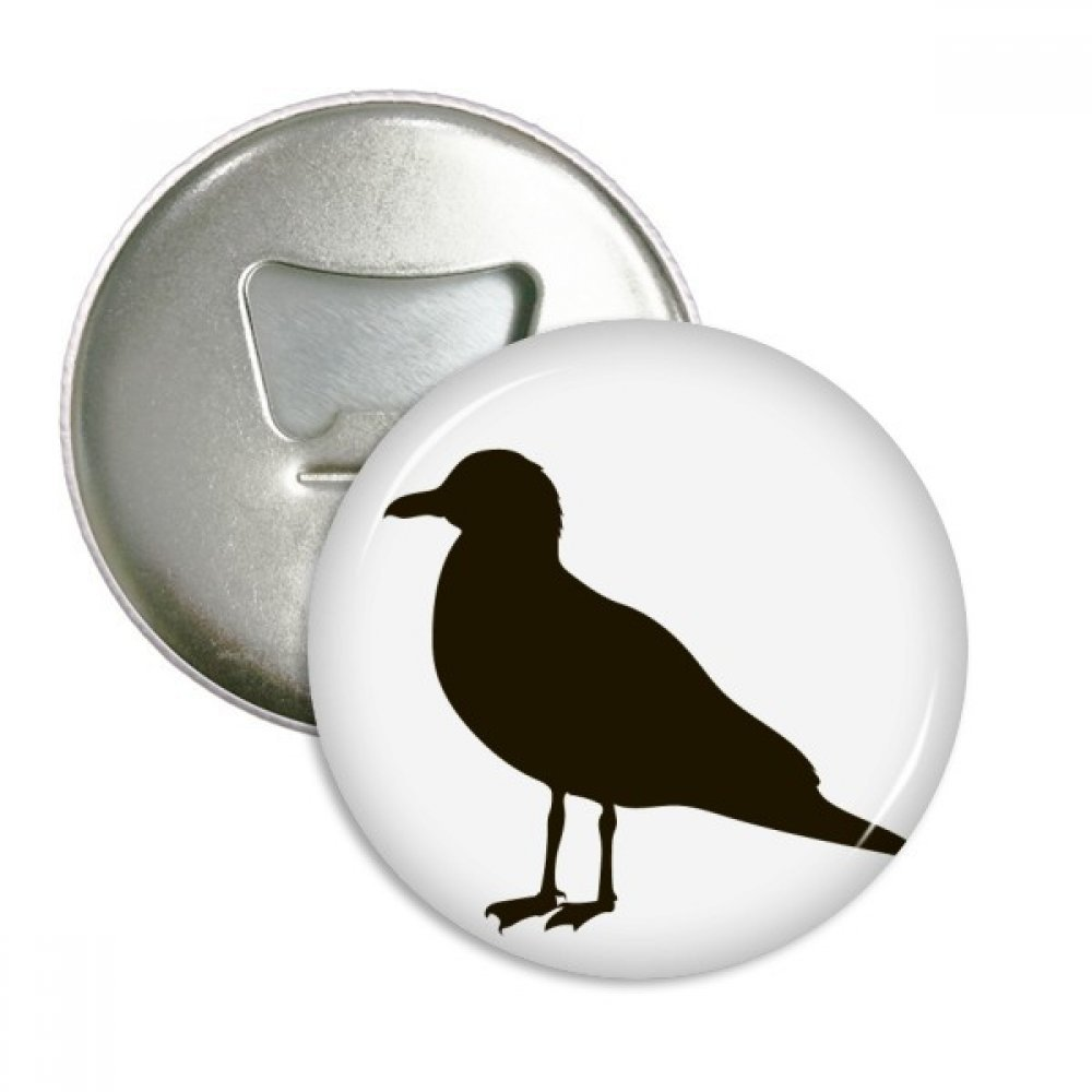 Black Seagull Animal Portrayal Round Bottle Opener Refrigerator Magnet Badge Button 3pcs Gift
