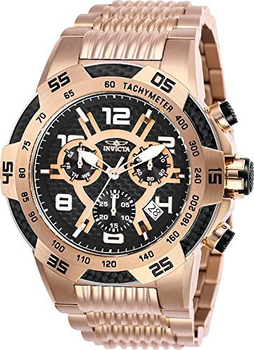 Rose Speedway Gold (Invicta Men's 25287 Speedway Quartz Multifunction Rose Gold Black Dial Watch)