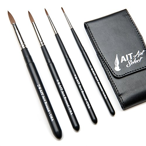 AIT Art Select Paint Brushes – Set of 4 Synthetic Sable Brushes – Handmade in USA – Compact Travel Set