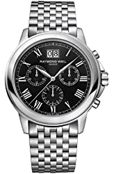 Raymond Weil Tradition Chronograph Black Dial Stainless Steel Mens Watch 4476-ST-00200