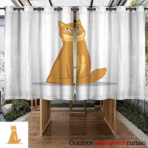 RenteriaDecor Outdoor Curtains for Patio Sheer Fluffy red haired cat Sitting with Happy Muzzle Cartoon pet Character Flat Vector Design for Promo Banner of Zoo Shop ve W108 x L72