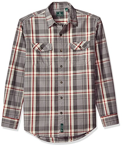 Double Pocket Button (G.H. Bass & Co. Men's Mountain Twill Double Pocket Plaid Long Sleeve Shirt, December Sky, Large)